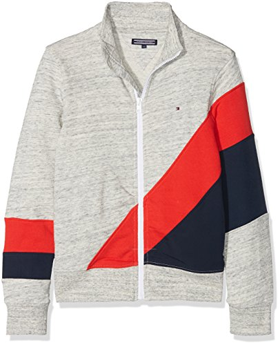 Tommy Hilfiger Jungen Racing Stripe Track Jacket Sweatjacke, Grau (Modern Grey Heather 060), 128