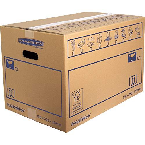 Bankers Box 6207301 SmoothMove Stabiler, doppellagiger Umzugskarton, 10 Stück