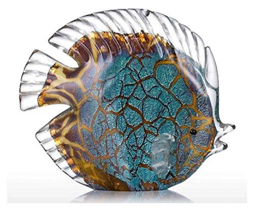 DFJU Escultura Desktop Escultura Azul Mosqueado Peixe Tropical Estátua Animal Jóias Arte em Vidro Ornamentos Artesanato Decoração para Casa Coleção de Acessórios Estatuetas Expositores de Arte