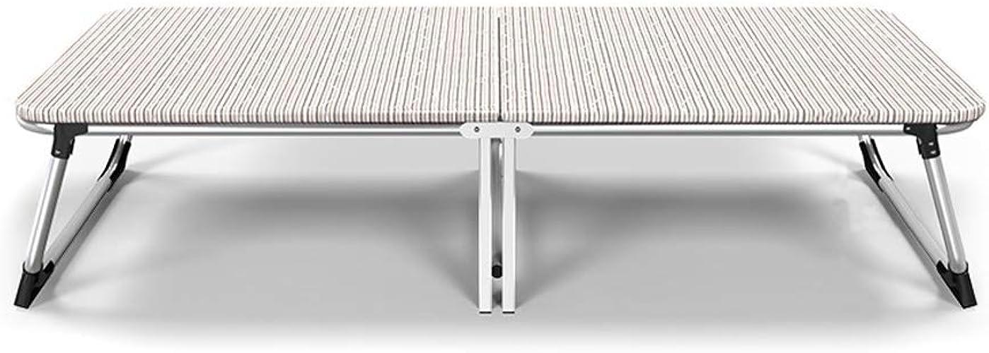 Heibao Lit Pliant en Aluminium argenté Simple, lit Pliant arrière de Loisir Domestique Stable et antidérapant, lit Pliant en Oxford Jaune