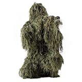 Traje Ghillie, Adultos al aire libre 3D Leaves Camuflaje Poncho Camo Cape Cloak Stealth Traje Ghillie Military CS Woodland Hunting Clothing Incluyendo chaqueta, pantalones, capucha, bolsa de transport