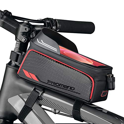 BTNEEU Fahrrad Rahmentasche Wasserdicht Fahrradtasche Rahmen Handy mit Sonnenblende Kopfhörerloch Touchscreen Mountainbike Handytasche Fahrrad Oberrohrtasche für Smartphones bis 6,8 Zoll (rot)