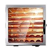 Lxn Máquina deshidratadora de alimentos comerciales, temporizador ajustable y control de temperatura, hierbas, carne, carne de res, frutas y verduras secas, 8 bandejas de acero inoxidable