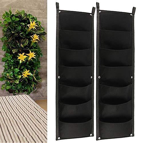 Wandmotage Pflanztasche Pflanzgefäße Taschen 7 Tasche Vertikale Aufhängbare Garten Pflanzwand Hängende Pflanzenhalter Einfaches Stecksystem zur Begrünung von Balkon Terrassen Innenhöfen (2PC)