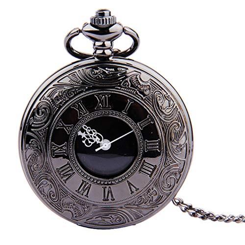 Relógio com bolso vintage da UKCOCOCO com flip romano, relógio clássico com números arábicos, pingente Steampunk, colar para presente de aniversário (corrente grossa), 44.6X4.6CM, Thin Chain