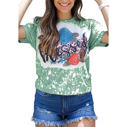 Camiseta de verano para mujer, parte superior de flores, manga corta, informal, cuello redondo, camisa para mujer, adolescente, niña, tshirt-x4431 verde militar XXL