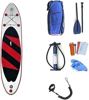 Tabla de Paddle Lake Travel Inflable Stand Up Paddleboard Sup con Almacenamiento Mochila, Correa, Pala y Bomba Paleta Flotante Ajustable (Color : Red Without Seat, tamaño : 320x76x15cm)