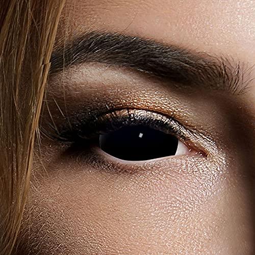Funlinsen Black Sclera-Markenqualität- 1 PAAR-D-22mm-schwarze Linsen,Cosplay, Larp, Zombie Kontaktlinsen, Crazy Funlinsen, Halloween, Fastnacht,Vampir - 4