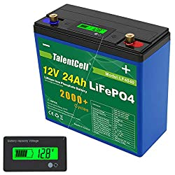 Best deep cycle battery for the money (for low power requirement)- Talentcell 12V 24Ah 288Wh Lithium Iron Phosphate