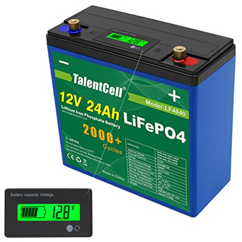 TalentCell 2000 Cycles Rechargeable 12V 24Ah 288Wh Lithium Iron Phosphate (LiFePO4) Deep Cycle Battery Pack