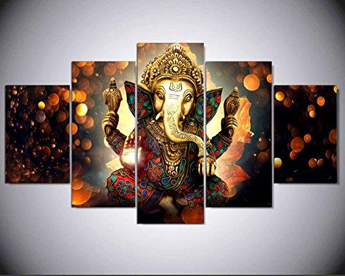 5 pcs indien Dieu Ganesha divinité abstraite sur toile – 5 Pièces Mango Bappa Maurya sur toile pour votre salle de maison/bureau (20 x 35cmx2,20 X 45cmx2,20 X 55cmx1)