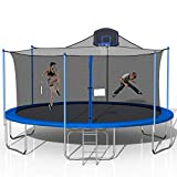 HABITRIO 16 FT Trampoline with Enclosure Net, Circular Outdoor Trampolines with Safety Net, Strong Spring Pad Mat, Parkside for Adults/Teens/Kids, Family Jumping and Ladder with Basketball Hoop, Blue