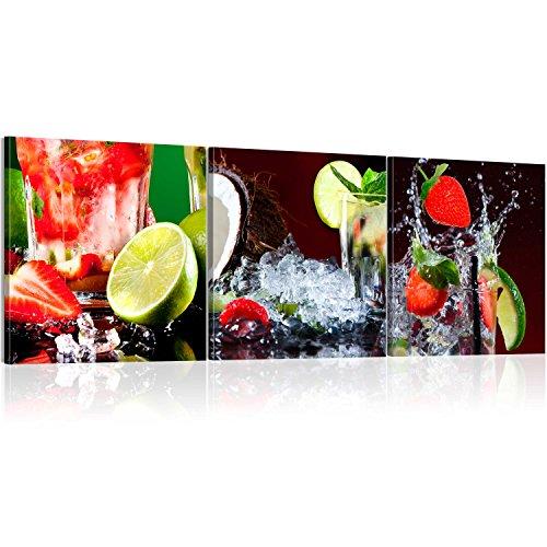 murando Acrylglasbild Obst 120x40 cm Wandbild auf Acryl Glas Bilder Kunstdruck Moderne Wanddekoration - Küche Erdbeere 030207-26