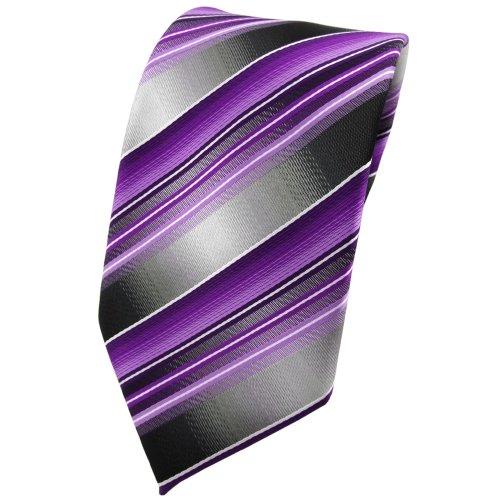 TigerTie Krawatte in lila flieder anthrazit silber grau gestreift - Binder Tie