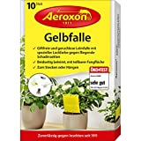 Aeroxon - Gelbfalle - Gelbtafeln - 10 Stck - fr Topf, Garten und Balkon - wirkt gegen die geflgelte Blattlaus, Minierfliege, Trauermcke und weie Fliege