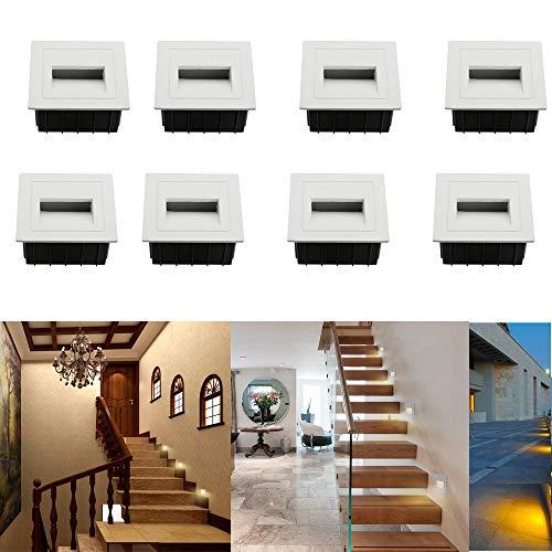 SUBOSI - Luz LED para escaleras, Aluminio, 230 V, 3 W, Cristal, lámpara de Pared, luz de Escalera, con Caja empotrada, luz de Escalera, lámpara de Pared, IP65, Resistente al Agua blanco cálido