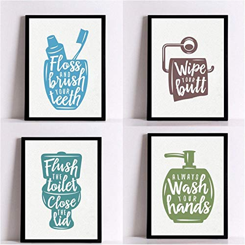 agwKE2 Modern Bathroom Letters Posters Prints Canvas Painting Wash Your Hands Quotes...