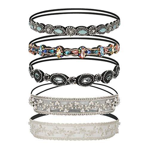 Elastisches Haarband Yideng 5 Stück Kristall Strass Kopfkette Haarband Spitze Perle Haarreife Haarschmuck für Frauen Damen