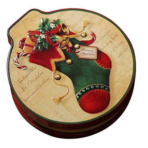 Meetsunshine Christmas Candy Box, Tree Ornament Round Cookie Jar Candy Storage Box Children's Gift for Home Festival Party (H)