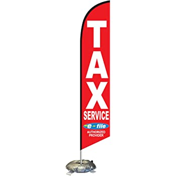 Pack Swooper Flags /& Pole Kits Green with Yellow Red Text TAX SERVICE 4 Four