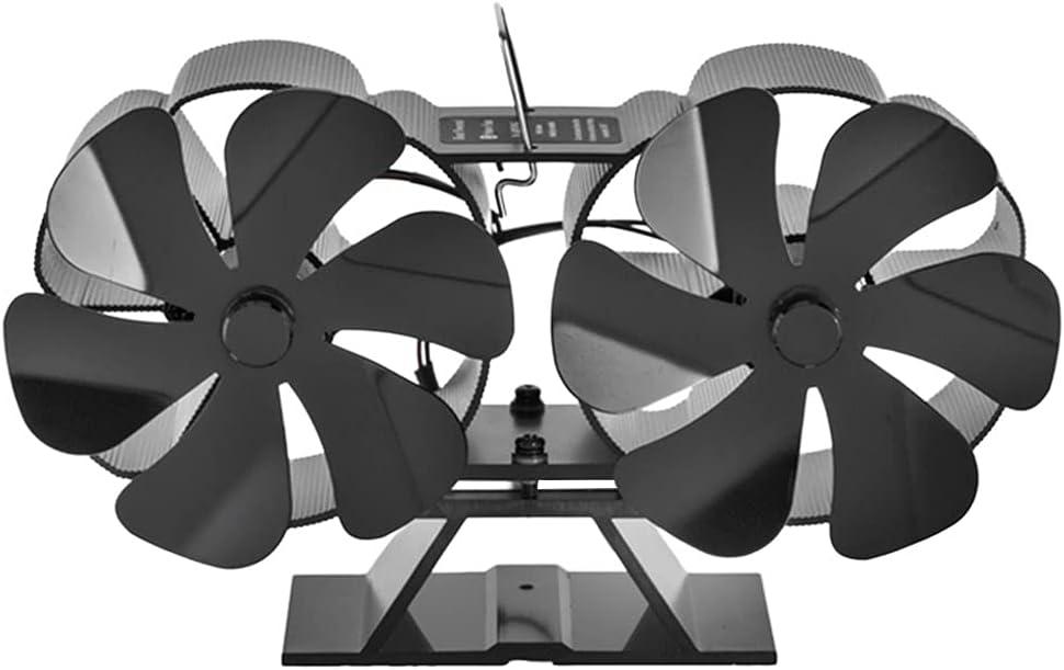 Gazechimp Ventiladores de Estufa de leña con Motor Doble de Calor Ventilador ecológico Ventilador de leña para Chimenea Ultra silencioso para una distribución - Negro