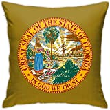 HOJJP Official Seal of Florida Square Throw Pillow Covers Set Cushion Cases Pillowcases for Sofa Bedroom Car 18 X 18 Inch
