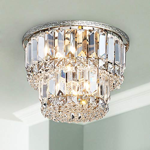 Saint Mossi K9 Crystal Chandelier with 3 Lights and 2-Tier,Modern Flush Mount Ceiling Light Fixtures Modern Chandelier for Bedroom,Dining Room,Livingroom,H9' x D10'