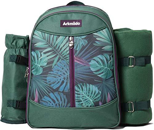 Arkmiido Picknickrucksack Kühltasche (für 4 Personen), Ausrüstungsset mit Abnehmbarer Weinflasche, Wolldecke, Geschirr und Geschirr, sehr gut geeignet für Outdoor, Wandern, Camping, Sport, Reisen