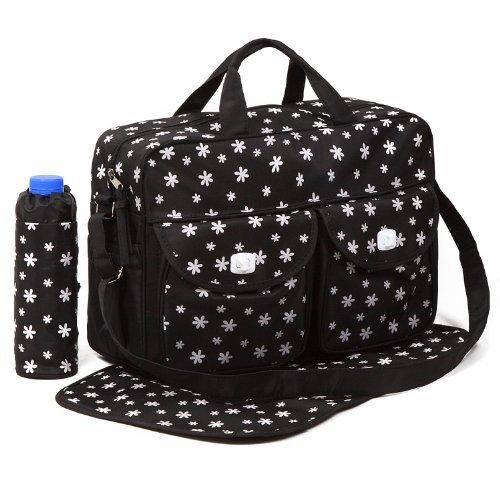 Black 3pcs Baby Diaper Nappy Changing Bag Set B:Daisy Desig
