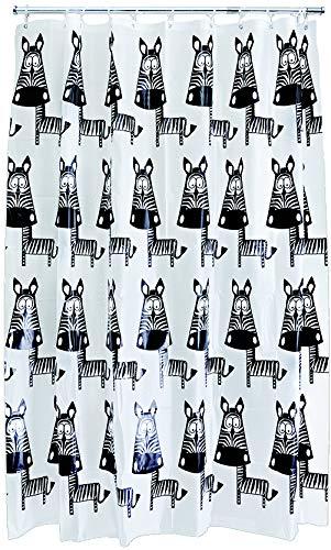 AQUALONA Duschvorhang, 100prozent PEVA, wasserabweisend, schimmelresistent, weiche Lackierung mit beschwertem Saum, Zebra, Mehrfarbig, 180 x 180 cm