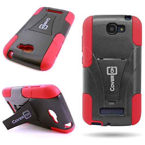 CoverON Kickstand Hard + Soft Dual Layer Hybrid Case for Alcatel One Touch Fierce 2 / Pop Icon A564c - Black Hard Red Soft Silicone