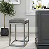 Nathan James Nelson Bar Stool with Leather Cushion and Metal Base, 24', Gray/Stainless Steel