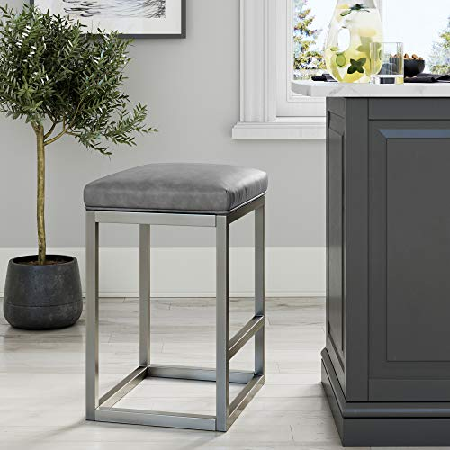 "Nathan James Nelson Bar Stool with Leather Cushion and Metal Base, 24"", Gray/Stainless Steel"
