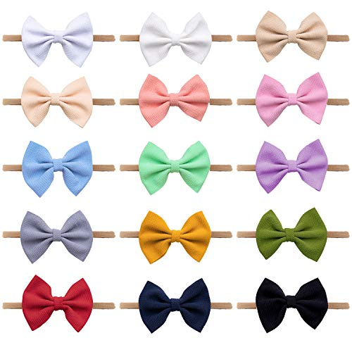 Headbands For Baby Girls 15 Pcs,Baby Girl Bows Elastic Band Stretches Toddler Headbands Hair Bows (Single Classic Bow-15 colors black white Red pink blue Beige grey purple etc)