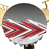 Mantel redondo rojo y negro ideal futurista moderno flechas en orden impresión artística digital diseño único gris carbón gris claro y blanco diámetro 71 pulgadas