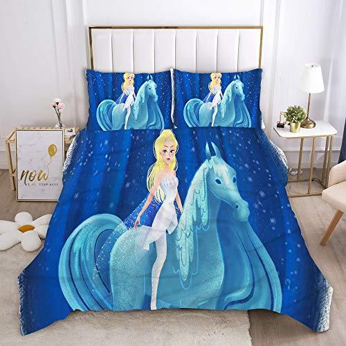 Juego de ropa de cama 3D Frozen funda nórdica + funda de almohada, microfibra, cremallera, adolescentes, niños, niñas (3,220 x 240 cm (80 x 80 cm)