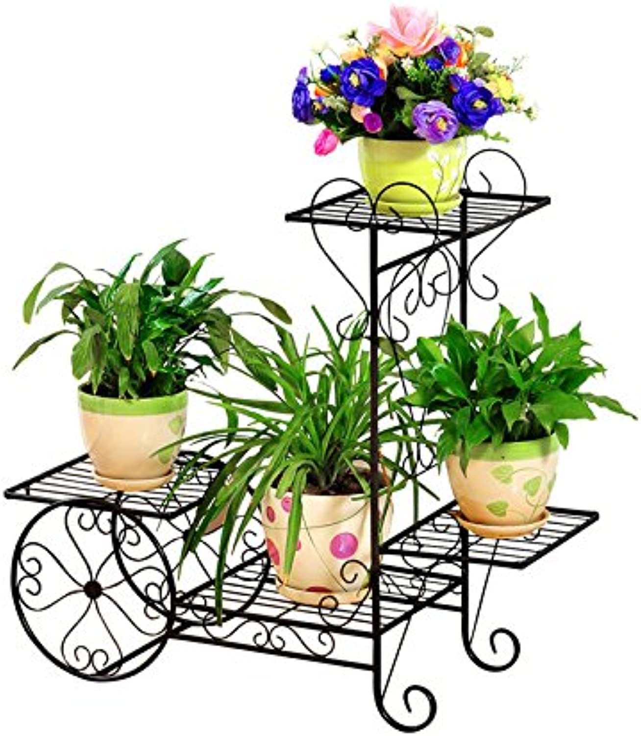 Plant Container Iron Flower Stand Floor-Standing Flowerpot Multi-Storey Indoor and Outdoor European-Style Flower Living Room Balcony Flower Shelf (Size   67  68  24cm)