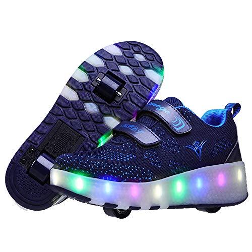 QHGao Kinder Leuchtende Rollschuhe Aufladen Zweirad Leichte Schuhe, Bunte LED-Rollschuhe, Leichte Schlittschuhe Bequeme Mesh-Rollschuhe, Zweirad-Blitzschuhe,Blau,32