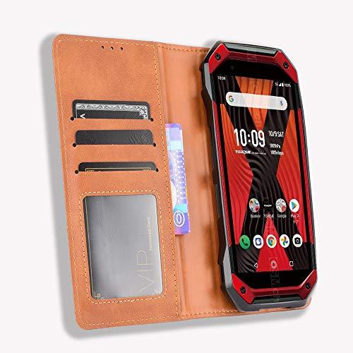 MingMing Lederhülle für Kyocera Torque 5G Hülle, Flip Hülle Schutzhülle Handy mit Kartenfach Stand & Magnet Funktion als Brieftasche, Tasche Cover Etui Handyhülle für Kyocera Torque 5G, Brown