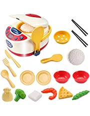 Outgeek Kitchen Playset Rice Cooker Realistic Cute Pretend Play Toy Kitchen Toy for Kid