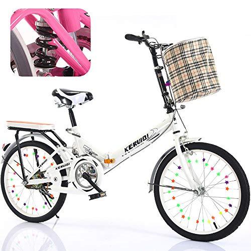 OFAY 20 Zoll Herren Damen Klapprad Faltrad 6 Gangschaltung Unisex City Klapprad Outdorr Bike Werkzeugfrei Zusammenfaltbares Fahrrad,Weiß,20 inch