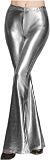 DressU Women's Silm Fit Bell-Bottoms Sparkly Pure High Rise PU Pants
