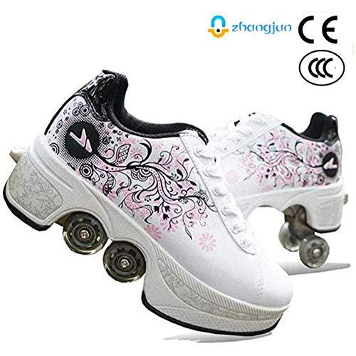 ZHANGJUN Inline-Skate, Verstellbar Inliner Für Kinder, Skates Rollschuhe Für Damen/Herren,White-37