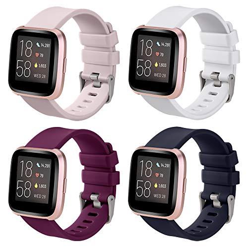 4 Pack Cinturini di Ricambio Compatibili con Fitbit Versa/Versa Lite/Fitbit Versa 2 Cinturino,Regolabile Sport Smartwatch Silicone Accessori Bracciale,Large(176-230mm),bordò/Rosa/Bianco/Blu Navy