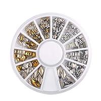 4ケース メタルリベット 3Dデコパーツ ハンドメイド ゴールドシルバー ハート 星 ラウンド スタッズ ネイルアートパーツ ネイルデザイン ネイルデコレーション