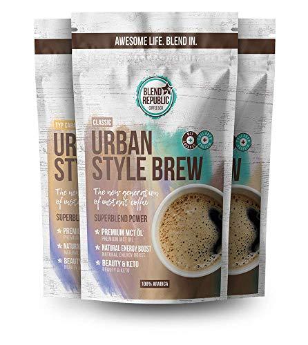 Urban Style Brew - Trial Mix - Premium Instant Koffee mit ⍟ MCT-Öl - Kollagen Peptiden - Inulin ⍟ Collagen Drink - Bulletproof Coffee - KetoUp - Keto Drink