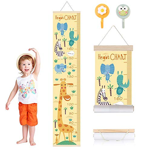 Migimi Kinder Messlatte, Kinderzimmer Leinwand Höhe hängendes Lineal, um Kinderhöhe Cartoon Wand Lineal zu messen