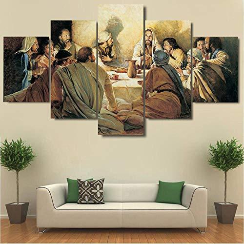 BAOYIHAI Home Decoration Poster Wohnzimmer 5 Panel Letztes Abendmahl Modulares Bild Wandkunst HD Gedruckte Moderne Malerei auf Leinwand