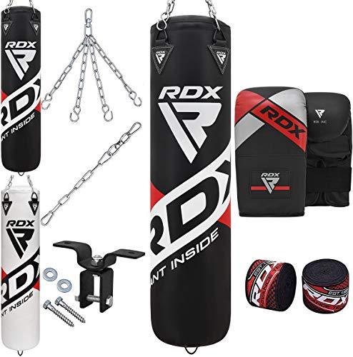 RDX Boxsack Set Gefüllt MMA Kickboxen Muay Thai Boxen mit Deckenhalterung Stahlkette Training Kampfsport Handschuhe Schwer Punchingsack Gewicht 4FT 5FT Punching Bag (MEHRWEG)