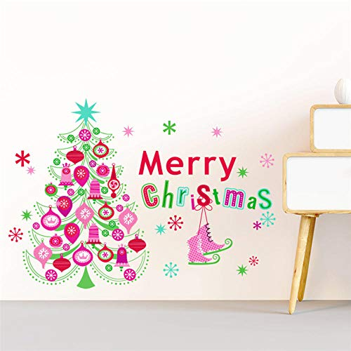Christmas Tree Snowflake Wall Stickers Bedroom Shop Window Home Decorations New Year Wall Decals PVC Mural Art
